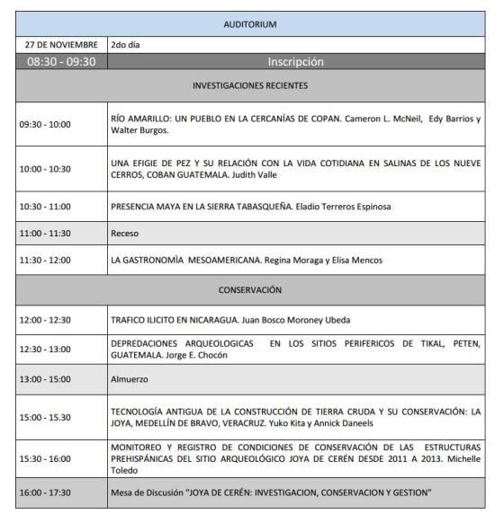 3 Programa V Congreso Centroamericano de Arqueologia en El Salvador
