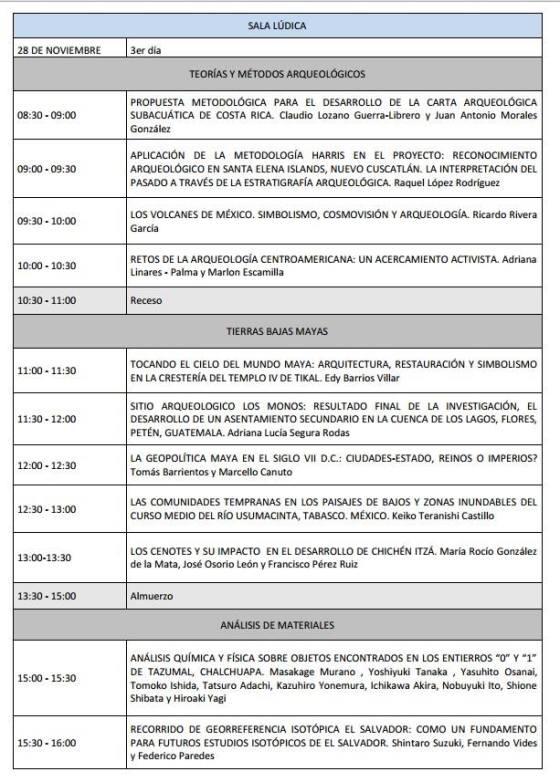 6 Programa V Congreso Centroamericano de Arqueologia en El Salvador