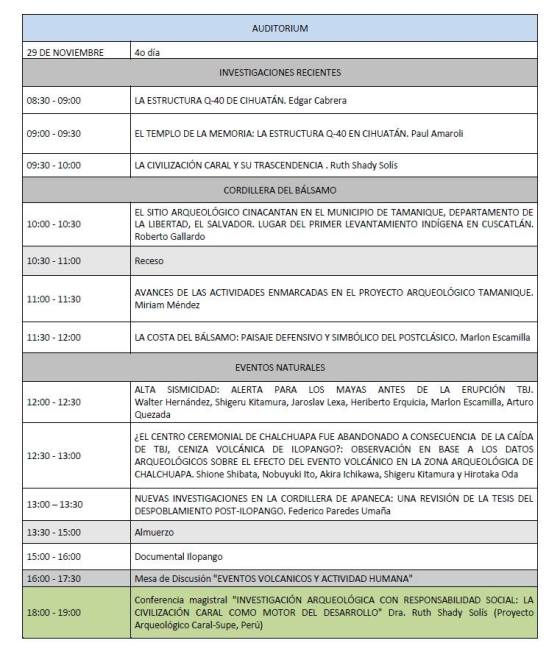 7 Programa V Congreso Centroamericano de Arqueologia en El Salvador