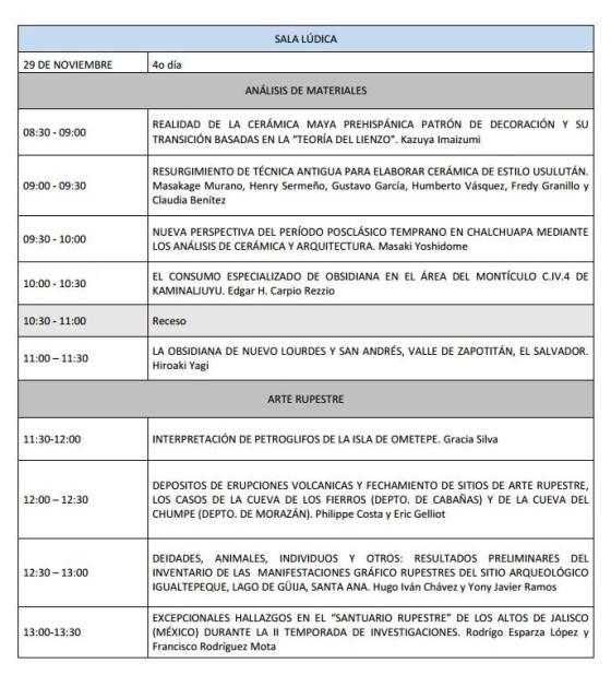 8 Programa V Congreso Centroamericano de Arqueologia en El Salvador